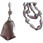 Beautiful Deco Necklace Light Purple Faceted Glass Beads and Pendent Probably Czech