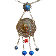 Egyptian Revival Style Deco Necklace Brass Sphinx with Bead Dangles Chain with Beads