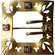 Exceptional Antique Sash Pin Gilt with Light Purple Faux Amethyst Gemstones