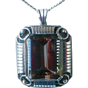Vintage Bold Pendent Necklace 835 Silver, Large Smoky Topaz German Deco