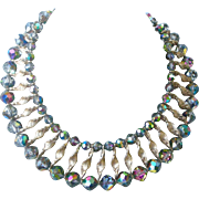 Fantastic Vintage Statement Necklace Two Rings of Aurora Borealis Rhinestone Beads Connected by Gold Tone Twists