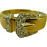 Elegant 14K Yellow Gold with Diamonds Buckle Style Ring