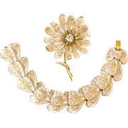 Vintage Bracelet and Pin Set by Capri White Enamel with Raised Gold Colored Texture Flower and Petals