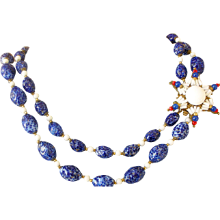 Exceptional Miriam Haskell Blue and White Glass Bead Necklace with Star Clasp Mid-Century Vintage