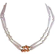 Mid-Century Miriam Haskell Necklace Double Strand Glass Beads Coral Tint