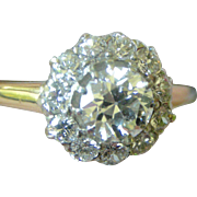 Superb Victorian/Edwardian Diamond Cluster Ring 14K White and Yellow Gold Great Sparkle