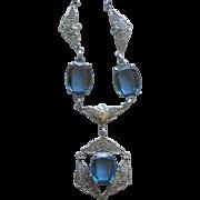 Fine Art Deco Ornate Filigree Necklace with Fancy Cut Faux Blue Sapphires