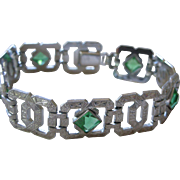 VERY Art Deco Engraved Rhodium Plated Geometric Link Bracelet with Faux Emeralds