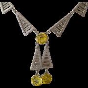 Superb Art Deco Geometric Filigree Necklace with Geometric Dangles
