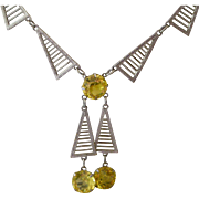 Superb Art Deco Geometric Filigree Necklace with Geometric Dangles