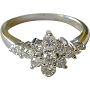 Superb Vintage Diamond Flower Ring 18K White Gold So Feminine