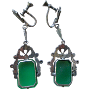 Dynamite Deco Dangle Drop Earrings Chrysophrase, Sterling and Marcasite