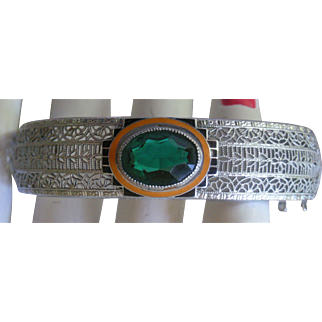 Silver Tone Filigree Hinged Bangle Faux Emerald, Black and Orange Enamel Front Very Collectible!