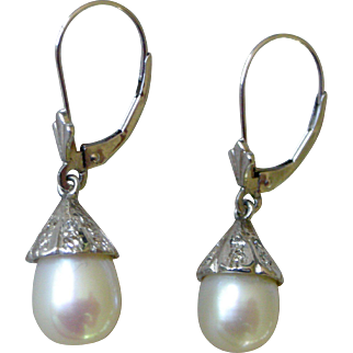 Elegant Dangle Earrings Large South Seas Cultured Pearls, 10K White Gold Caps with Small Diamond Accents