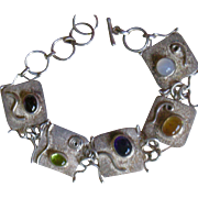Modernist Link Bracelet with a Gemstone Set in Each Link Sterling Silver