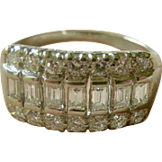 Top Quality Vintage Mid-Century Ladies Platinum and Round + Emerald Cut Diamonds Band Ring