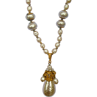 Exquisite Vintage Miriam Haskell Necklace Faux Pearl Chain and Pendent