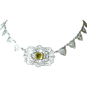 Superb Vintage All Sterling Silver Filigree Necklace with Faux Citrine Center
