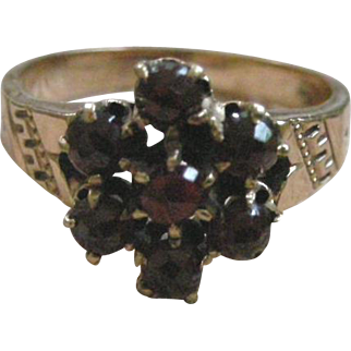 Very Victorian Ring Rose Cut Garnet Cluster in 10K Yellow Gold