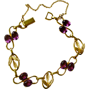Vintage 1940's Van Dell Link Bracelet Gold Filled and Faux Amethysts