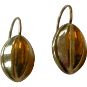 Lovely Victorian Oval Dangle Earrings 10K Yellow Gold Oval