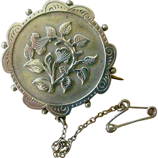 Beautiful Victorian Silver Pin Repousse Flowers in Center and Rim All Original Circa 1880s