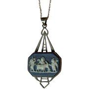 Vintage Pendent Necklace Blue and White Wedgewood and Sterling Silver Scenic Design