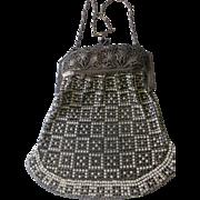 Vintage Whiting & Davis Enamel Mesh Bag Ornate Filigree Frame Black and White