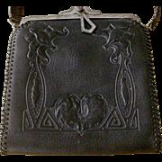 RARE BLACK Arts & Crafts 1920s Embossed Turn Lock Leather Bag Purse Handbag