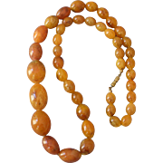 Deco Era Necklace Amber Bakelite Light Brown Graduated Size Beads