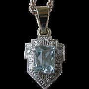 Elegant Edwardian Aquamarine Pendent Necklace 14K White Gold, Diamonds