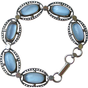 Mid Century 1950s Faux Moonstone and Sterling Silver Bracelet Made by Beau