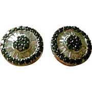 Sensational Vintage Large Round Stud Earrings Clear and Black Diamonds set in 18K White Gold
