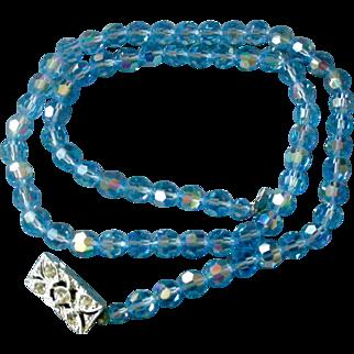 Beautiful Mid-Century Necklace Medium Blue Aurora Borealis Faceted Beads