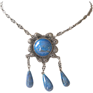 Fine Deco Necklace Blue Sodalite with Dangles Fancy Silver Setting