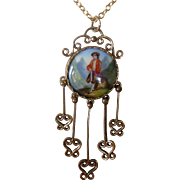 Charming Vintage Pendent Necklace Porcelain Plaque of Boy in Mountains Gold Filled Setting with Dangles