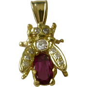Beautiful Vintage Bug Insect Pendent Garnet and Diamonds 18K in Yellow Gold