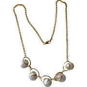 UNIQUE Button Pearl and 14K Yellow Gold Necklace