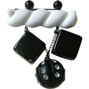 Delightful Vintage Plastic Pin, White with Black Chunky Dangles, Late Deco Period