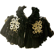 Fantastic Victorian Capelet Black Silk and Ecru Silk Braid Trim Made in France