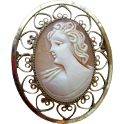 Vintage Shell Cameo Pin with Gold Filled Filigree Border Made by Catamore
