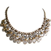 Art Deco Necklace Lush Sparkly Faceted Crystal Dangles Collar