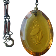 Fine Deco Pendent Necklace Topaz Colored Pendent with Intaglio and Enamel Link Chain