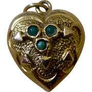 Victorian 14K Yellow Gold Puffy Heart Charm Seed Pearls and Turquoise