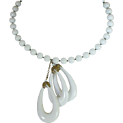 Miriam Haskell White Bead Choker Necklace with 3 Large Oval Dangles Mid Century
