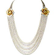 Exceptional Art Deco Necklace with Eleven Small Bead Strands and Flower Holder Silver and Gold Tone