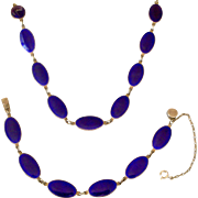 Exquisite Vintage Necklace and Bracelet Set Cobalt Blue Enamel on Sterling Silver Oval Links