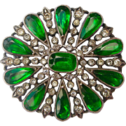 Glorious Deco Vintage Pin Faux Emeralds & Diamonds Probably French