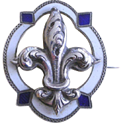 Victorian Era Pin Brooch Enamel on Silver Fleur de' Lis