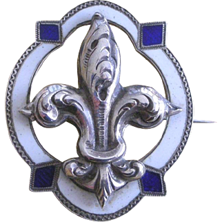 Victorian Era Pin Brooch Enamel on Silver Fleur de' Lis